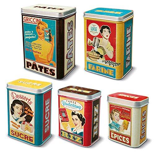 5 Cajas Metalicas Vintage para Arroz Azúcar Harina y Pasta