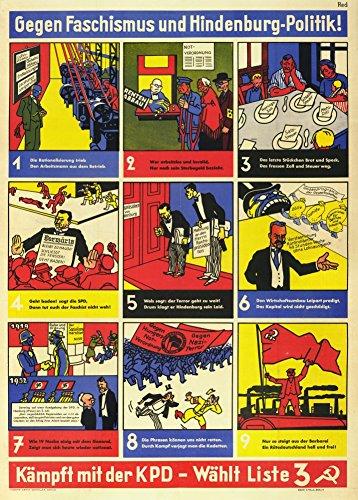 Poster, Deutsch Zwischenkriegs Kommunistischen GEGEN FASCHISMUS UND HINDENBURG - POLITIK! KÄMPFT MIT DER KOMMUNISTEN c1919-32, Vintage, A3, 250 g/qm, glänzend