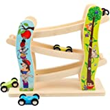 Toddler Toys Race Track, Wooden Race Track Car Ramp Racer With 4 Mini Cars, Educational Creative Toddler Toys For 1-2 Year Ol