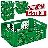 6x Eurobehälter durchbrochen / Stapelkorb, Industriequalität, lebensmittelecht, 600 x 400 x 240 mm, grün