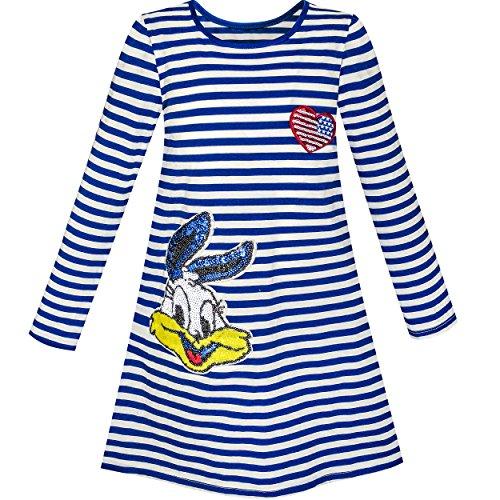 Mädchen Kleid Lange Ärmel Baumwolle Karikatur Pailletten Blau Gestreift Gr. 116 Blaues Pailletten Kleid
