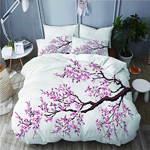PENGTU Bettwäsche-Set, Mikrofaser,Zweig eines blühenden Sakura-Baums blüht Cherry Blossoms Spring Theme Art,1 Bettbezug 160 x 200cm+ 2 Kopfkissenbezug 80x80cm -