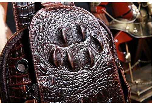 Ledertasche Herren Umhängetasche Unitasche Laptoptasche (Coffee Crocodile head) Coffee Crocodile pattern
