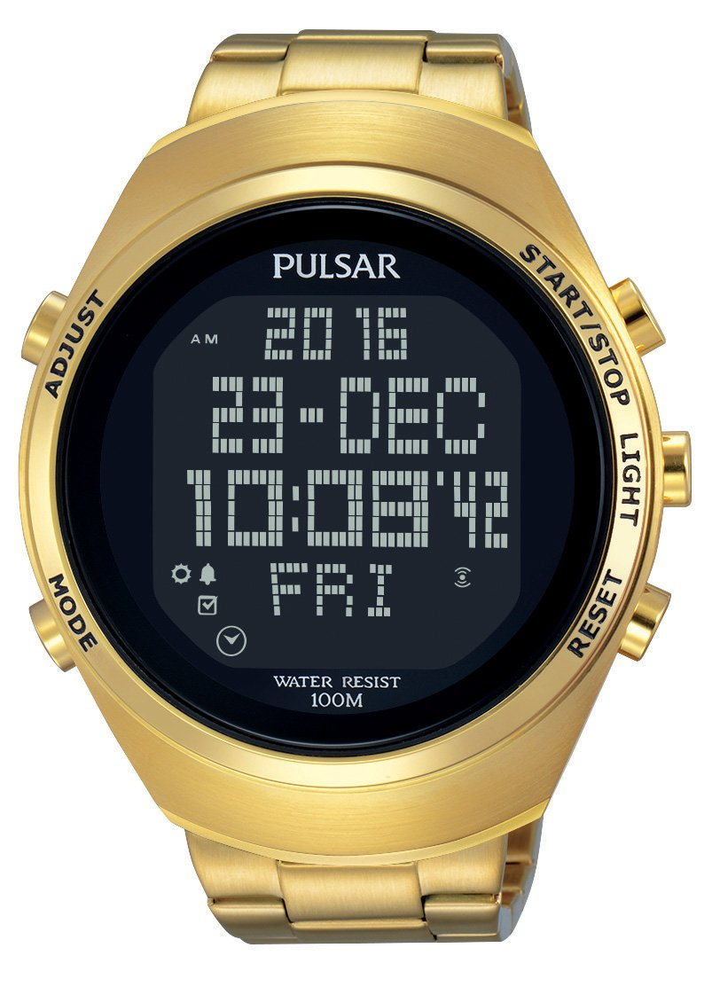 Pulsar Herren Digital Quarz Uhr mit Edelstahl beschichtet Armband PQ2056X1