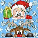 Fensterbilder neugieriger Weihnachtsmann und Rudolph, das Rentier - mit 28 Schneeflocken - fantastische Weihnachtsdekoration