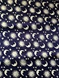 PE-Satin dunkelblau mit silbernen Sonne/Mond/Sterne 0,50 m