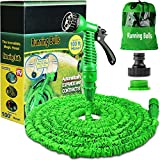 100FT Expanding Garden Water Hose Pipe with 7 Function Spray Gun Expandable Flexible Magic Hose Anti-leakage Lightweight Easy Storage(Green)