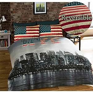 new york king size bettbezug und 2 kissenbez ge bett set bettw sche betten nyc k che. Black Bedroom Furniture Sets. Home Design Ideas