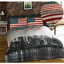 New York King-Size Set biancheria da letto matrimoniale reversibile, Copripiumino e 2 federe, Motivo: NYC, Multicolore
