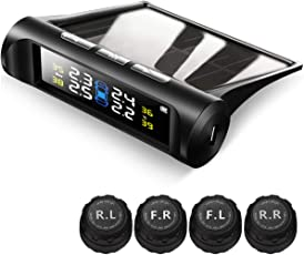 Favoto Reifendruckkontrollsystem Auto TPMS Reifendruck Kontrollsystem Solar 1.5-6 Bar Reifendruckmesser mit 4 Externe Sensoren (mit 6 Batterie), LCD Display (Reifendruck und Temperatur anzeigen) für Auto, SUV, KFZ