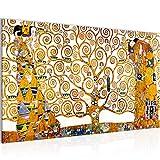 Bild Gustav Klimt - Tree of Life Wandbild Vlies - Leinwand Bilder XXL Format Wandbilder Wohnzimmer Wohnung Deko Kunstdrucke Gelb 1 Teilig - MADE IN GERMANY - Fertig zum Aufhängen 700014a