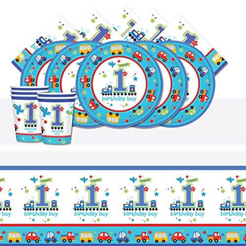 (All Aboard 1. BIRTHDAY BOY BLUE Komplettes Party Supplies Kit für 8Teller Becher Servietten Tisch Cover)