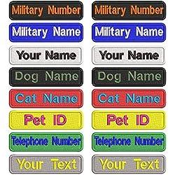Personalizado Bordado Nombre parche, 2 piezas personalizado Militar número etiqueta personalizada logotipo ID para múltiples bolsas de ropa chaleco chaquetas trabajo camisas