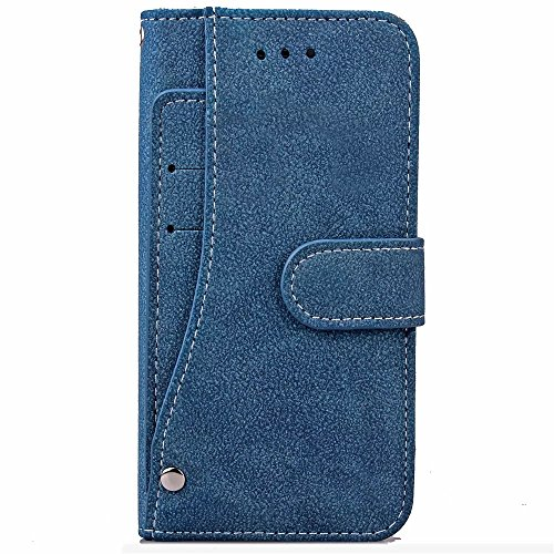 iPhone Case Cover Solid Color matt Oberflächenmuster Flip Ständer Cover Wallet Fall Shell Tasche für IPhone 7 ( Color : Brown , Size : IPhone 7 ) Blue