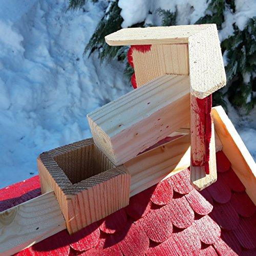 Vogelhaus-XXL mit Holzschindeln und Putzklappe lasiert Vogelhäuser-Vogelfutterhaus großes Vogelhäuschen-aus Holz Wetterschutz (Rot) - 5