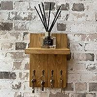Handmade Rustic Wood Oak Wax Wall Hanging 4 Hook Key Rack Holder With Shelf