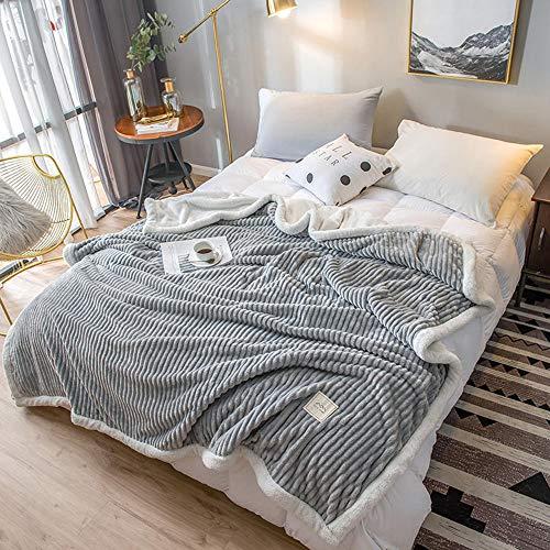 Coperta doppio strato in pelle di agnello, coperta per letto matrimoniale comfort, coperta in pile di corallo, calda e morbida coperta ampia per quattro stagioni, adatta per letto, divano