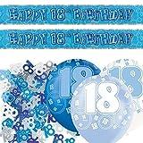 Unique Einzigartige bpwfa-4148Glitz 18. Geburtstag Folie Banner Party Deko-Set, Blau