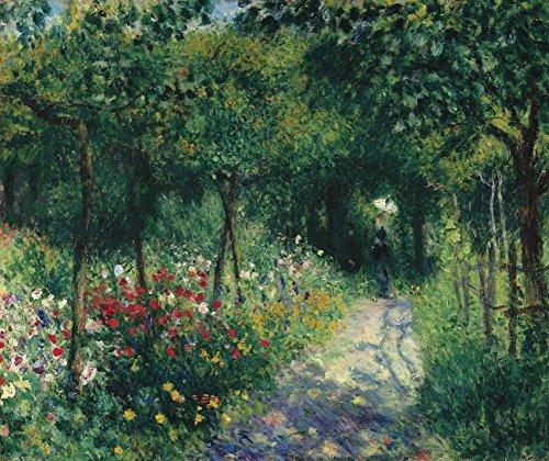 JH Lacrocon Pierre-Auguste Renoir - Frauen In Einem Garten Leinwandbilder Reproduktionen Gerollte 50X60cm - Landschaft Gemälde Komplett Texturiert 3D Gedruckt Wandkunst für Wohnzimmer