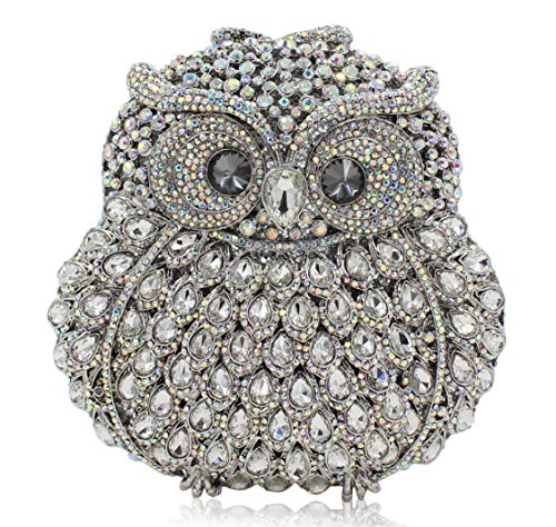 XYXM Frau Clutch Eule Luxus Handgefertigte Diamant Dinner Pack Hochwertige Crystal Full Drill Handtasche / Bankett Pack Silver