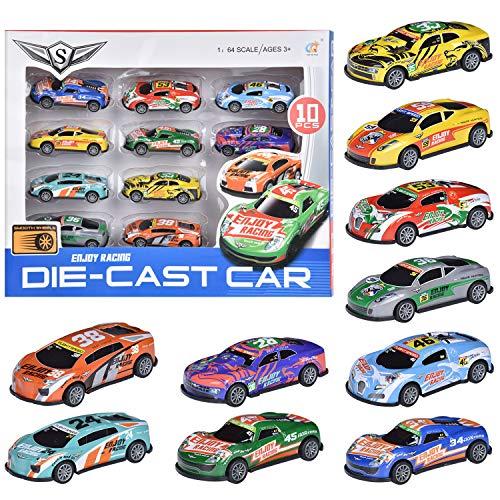 FORMIZON 10 Stück Mini Auto Spielzeug, Spielzeugautos, Mini Auto Set Rennauto, Pull Back Autos Spielzeug Autos für Kleinkinder ab 3 4 5 Jahren Jungen Mädchen, Buntes Kleine Geschenk für Kinder