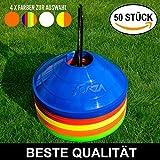 Markierungsteller, 50 Stück, mit Ständer, beste Qualität [Net World Sports] (Markierungsteller mehrfarbig)