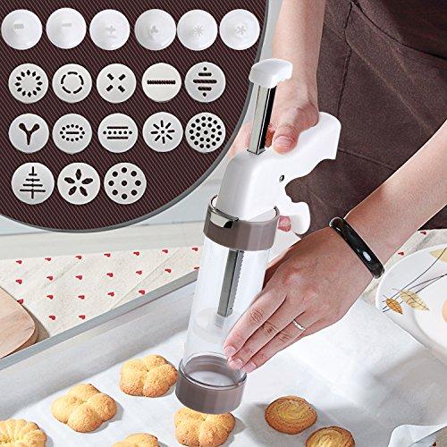 Gebäckspritze für Kuchen und Kekse, Gebäckspritze edelstahl, Einhand-Garnierspritze, mit 13 Unterschiedlicher Stil Form Schimmel  und enthält 6 Spritztüllen