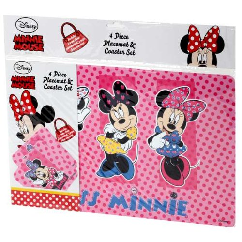 Image of Minnie Mouse 4 Piece Placement & Coaster Set