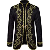 Heflashor Men's Suit Jacket with Gold Dress Court Dress Opera Stage Suit Jacket Spring and Autumn