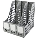 Amazon Brand - Eono Plastic Magazine File Book Holder, Desktop Storage Rack Classic Desk Organiser, 3 Compartment(Grey)