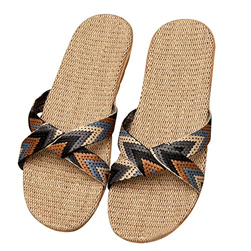 Eizur ciabatte antiscivolo punta aperta pantofole lino sandali scarpe piatte scarpe da spiaggia ciabatte da piscina doccia casuali scarpe taglia 40/41 per uomo - tipo 5