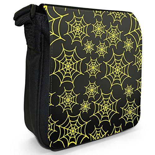Bunte Spinnennetze Kleine Schultertasche aus schwarzem Canvas Spinnennetze Gelb