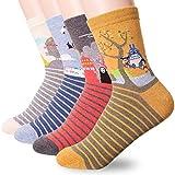 Happytree, calcetines para mujer, 3 – 6 unidades, divertidos y geniales gatos, perros, diseño de animales dulces, buena idea para regalo, talla única Multicolor Miyazaki Hayao 4 Pairs Talla única