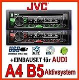 Audi A4 B5 - JVC KD-R469E - CD/MP3/USB Autoradio - für ORIG. Aktivsystem - Einbauset
