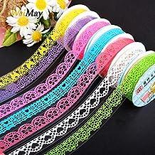 weimay cinta adhesivas pegatinas diseño de encaje multicolor pegatina bricolaje decoración 3Color aleatorio