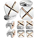 HAWSON Cufflinks and Studs for Men-Fashion Mens X-Shaped and Square Cufflinks and Tuxedo Shirt Studs Set for Regular Weeding