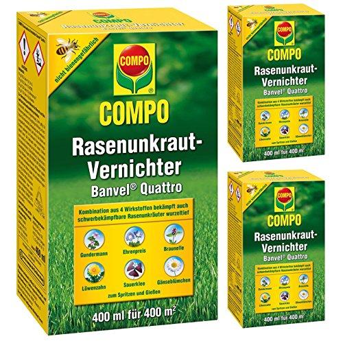 Gardopia Sparpaket: 3 x 400ml Compo Rasenunkraut-Vernichter Banvel Quattro Rasen Unkrautfrei Zeckenzange mit Lupe