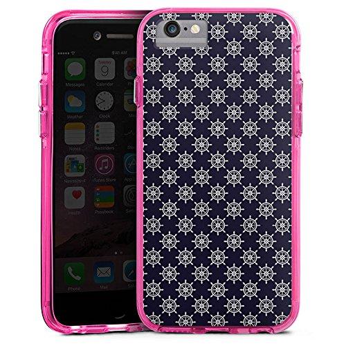 Apple iPhone 6 Bumper Hülle Bumper Case Glitzer Hülle Steuerrad Muster Matrose Bumper Case transparent pink
