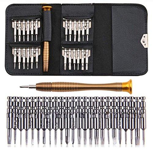 25en 1tournevis de précision Outil de réparation Kits avec sac de cuir noir pour PC, lunettes...