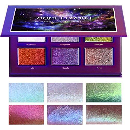 SYZYGY Lidschatten Palette, Comet Crush Chamäleon glänzendes Make-up, vegan, hochpigmentiert, high end, Duochrome Eyeshadow Schimmer + Glitzer Kosmetik, bunt 6 Farben, XL Set, Profi