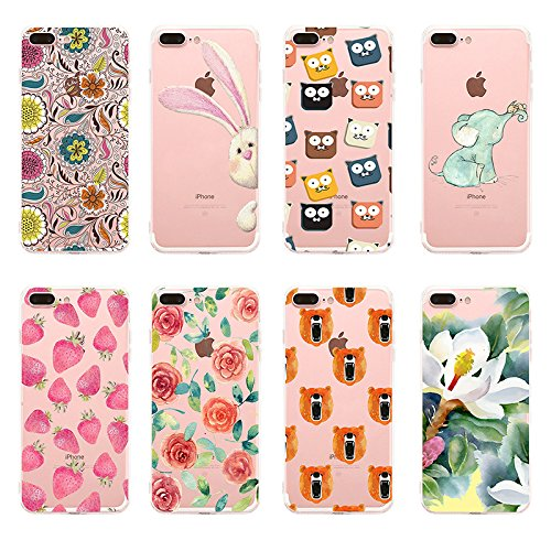 Custodia iPhone 7 plus Qissy® TPU Cover iPhone 7 Plus 5.5 pollici Custodia Bumper Morbida Crystal Clear Silicone elefante per Apple i Phone 7 Plus 14
