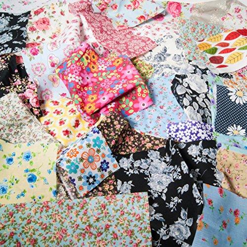 Sac (100g) de morceaux de tissu à motif floral, vintage, shabby chic pâquerettes roses pour de petits projets d'artisanat, 100% coton et polycoton (mélangé).