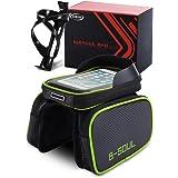 Fahrradtasche Fahrrad Rahmentasche, Tasche mit Abnehmbar Handyhalterung, Touchscreen-Funktionalität Wasserdicht Sun Visier, Großer Speicherplatz für Mountainbike (Smartphone passend bis zu 6,0 Zoll)