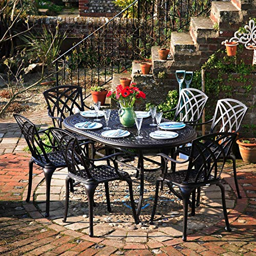 Lazy Susan Furniture - June 150 x 95 cm Oval 6 Seater Cast Aluminium Garden Set - Antique Bronze (April chairs)