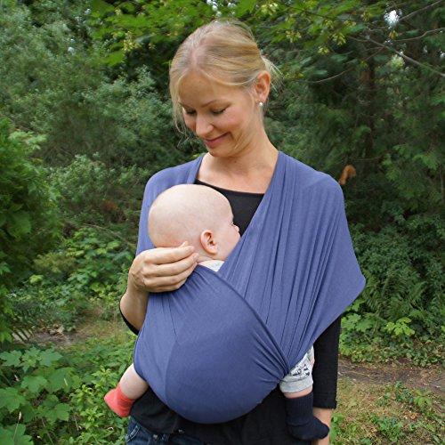 Premium Baby-Tragetuch aus 100% Baumwolle für Neugeborene und Kleinkinder | Hochwertiges Umhängetuch | Elastisches Kindertragetuch mit deutschsprachiger Anleitung für Bindetechniken (Hell-Blau) - 6
