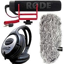 Rode VideoMic GO directividad Tubo de cámara micrófono + DEADCAT Go piel Protector de viento + Auriculares Keepdrum