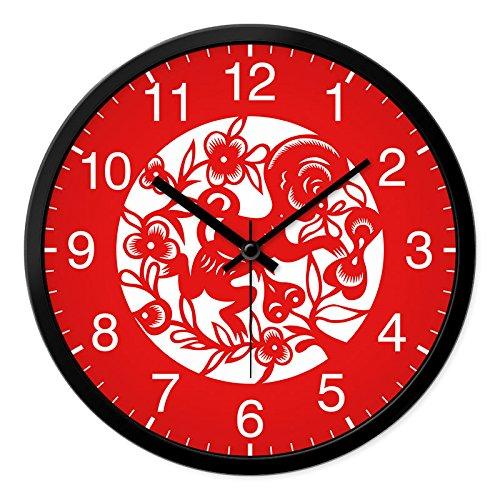 SJQ Neujahrsuhr Chinesische Winduhr 12 Zodiac Wohnzimmeruhr Household Celebration Red Quarzuhr, 12 Zoll, Zodiac Monkey schwarzer Rahmen