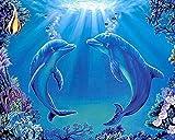 sunnymi DIY 5D Diamant Stickerei, Intime Delfine 6 Diamond Malerei Stickpackungen Bilder (30 * 25cm)