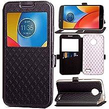 Motorola Moto E4 Funda, bdeals lujo [Ultra Thin] Carcasa de Cuero de la PU [Ver Ventana] Caso de la Cubierta del Tirón para Motorola Moto E4,negro