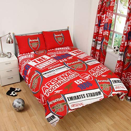 Offizielles Arsenal FC Fußball-Bettwäsche-Set, Einzelbett, wendbar, Arsenal Bedding - Patch Duvet, Doppelbett (Arsenal Fc-patch)